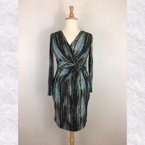 Anne Klein V-Neck Faux Wrap Long Sleeve Dress